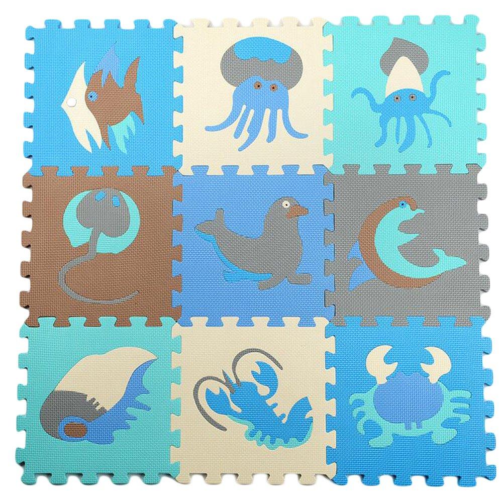 Julvie Floor Mat 9 Tiles Interlocking EVA Foam Puzzle Play Mat with Removable Sea Animals Kids Safety