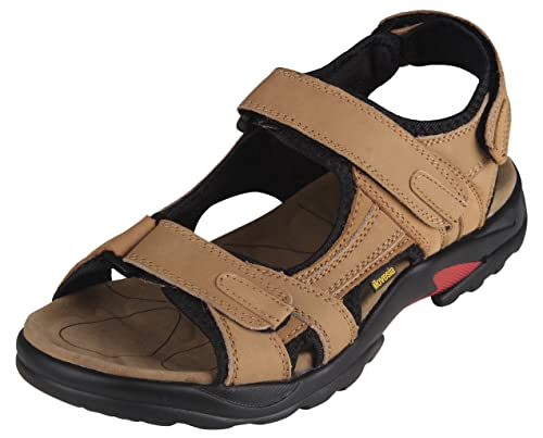 iLoveSIA Mens Athletic and Outdoor Leather Sandals Khaki UK Size 4 EU 38