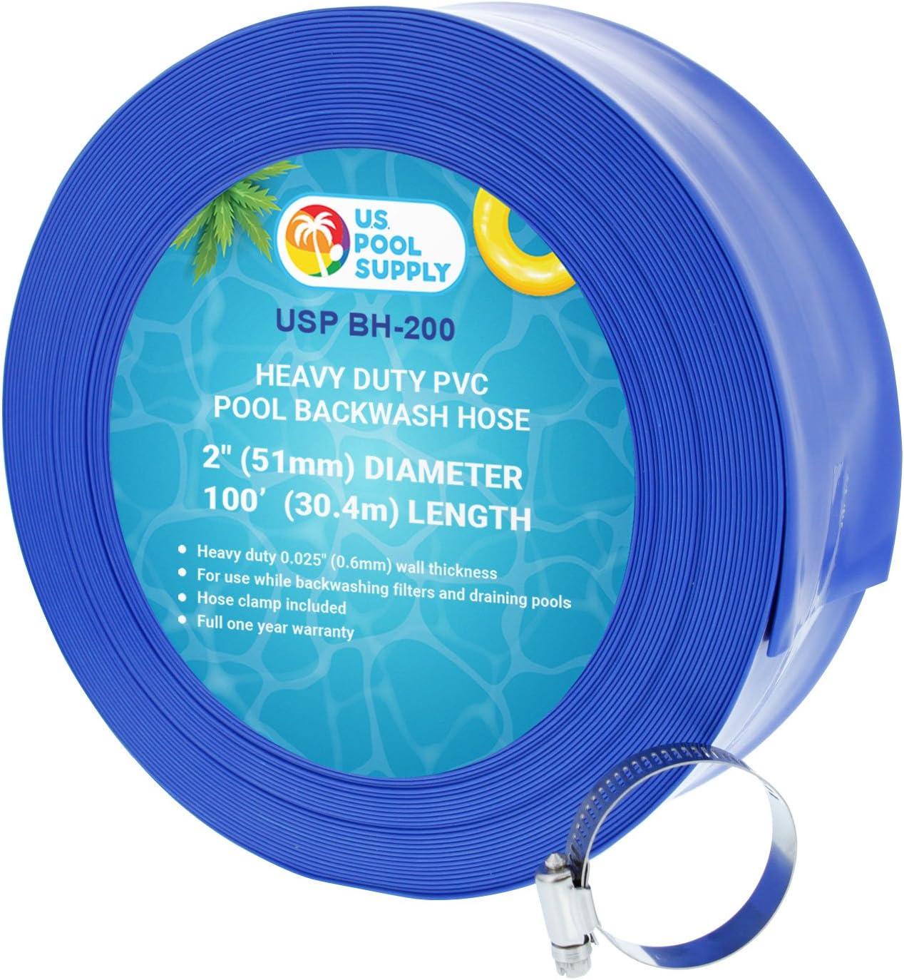 "2"" x 100' Blue PVC Backwash Hose for Swimming Pools"