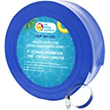 "U.S. Pool Supply 2"" x 100' Heavy Duty Blue PVC Swimming Pool Backwash Hose with Hose Clamp"