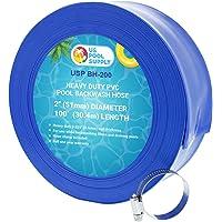 U.S. Pool Supply 2″ x 100' Heavy Duty Blue PVC Swimming Pool Backwash Hose with Hose Clamp