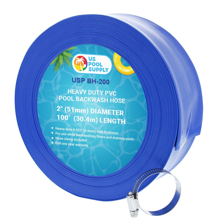 U.S. Pool Supply 2'' x 100' Heavy Duty Blue PVC Swimming Pool Backwash Hose with Hose Clamp by U.S. Pool Supply
