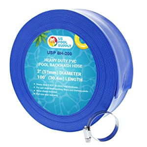 "U.S. Pool Supply 2"" x 100' Heavy Duty Blue PVC Swimming Pool Backwash Hose with Hose Clamp"