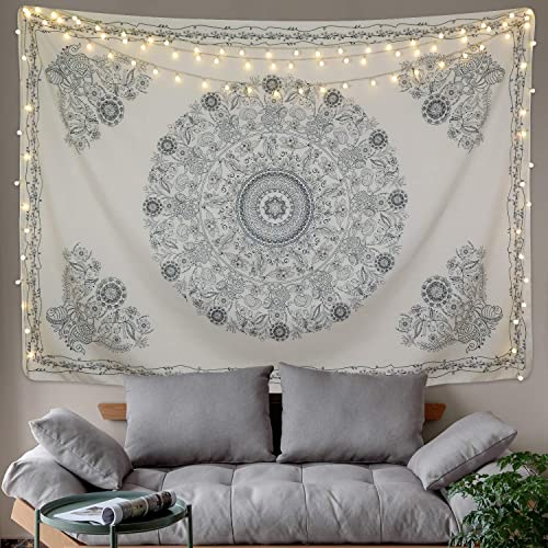 BLEUM CADE Tapestry Mandala Hippie Bohemian Tapestry Wall Hanging Medallion Floral Art Tapestry Wall Hanging Indian Dorm Decor for Room Beige, 70.8 x 92.5