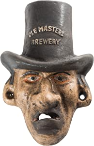 "Cast Iron Top Hat Man""Ole Masters Brewery"" Wall Mount Bottle Opener"