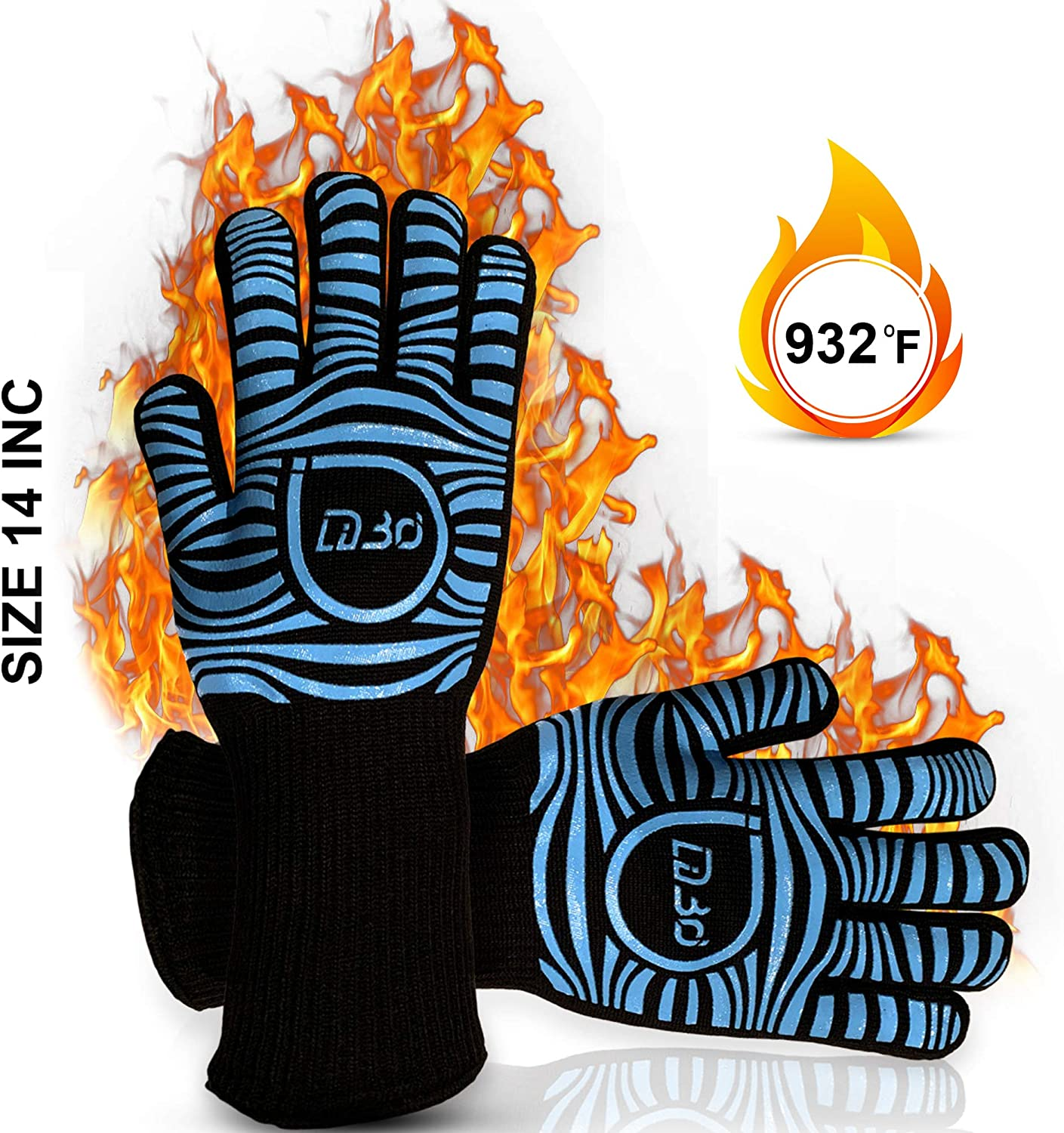 LiBri Heat Resistant BBQ Gloves, Oven Gloves 14 Inch Extreme Heat Resistant Gloves for Grilling, Baking, Smoking, Cooking, Camping, Barbecue-with Long Cuff Extra Wrist Protection 1 Pair