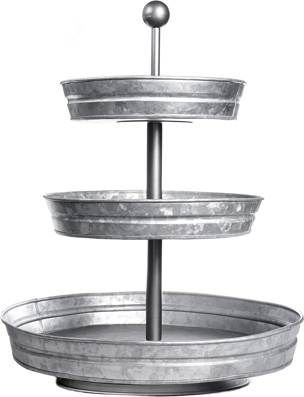 Amazon Com Delbrio 3 Tier Jumbo Serving Tray Display Stand Rustic Decorative Galvanized Farmhouse Decor Kitchen Dining