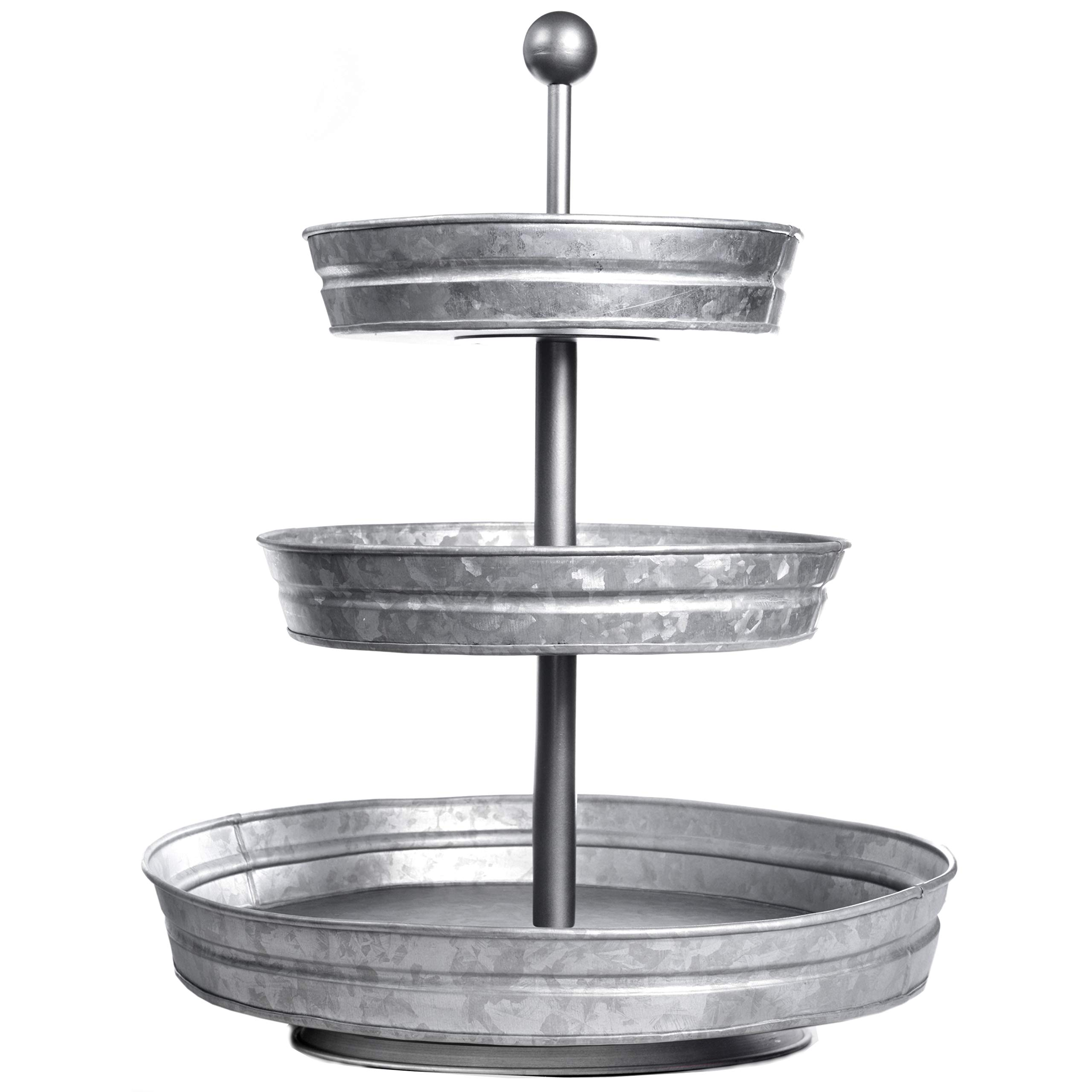 DELBRIO - 3 Tier Jumbo Serving Tray & Display Stand - Rustic, Decorative Galvanized, Farmhouse Decor by DELBRIO