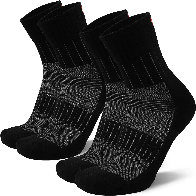 DANISH ENDURANCE Anti-Blister Trail Running Socks for Men & Women, Athletic Crew Socks, for Spring & Summer, 2 Pack