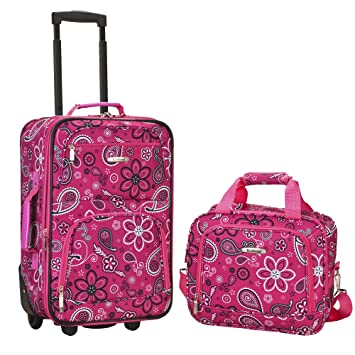 07756f2b35d Amazon.com   Rockland Luggage 2 Piece Printed Luggage Set, Pink Bandana,  Medium   Luggage Sets