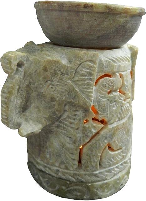 Lámpara aromática cabeza de elefante 11cm piedra de jabón accesorio ambientado hornillo decoración