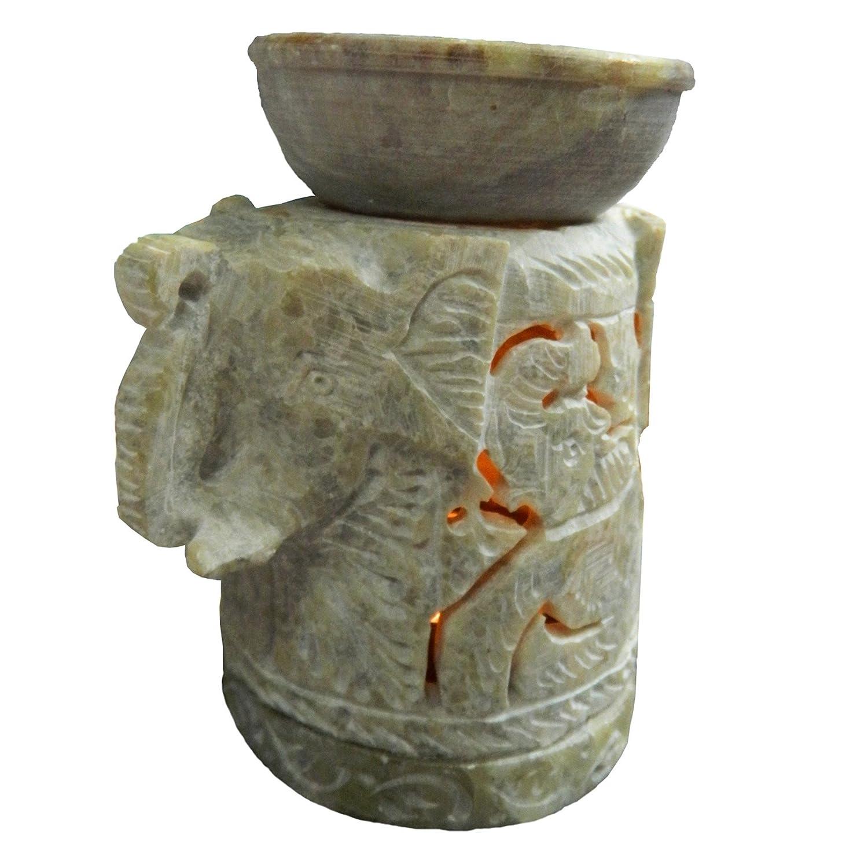 Lámpara aromática cabeza de elefante 11cm piedra de jabón accesorio ambientado hornillo decoración: Amazon.es: Hogar