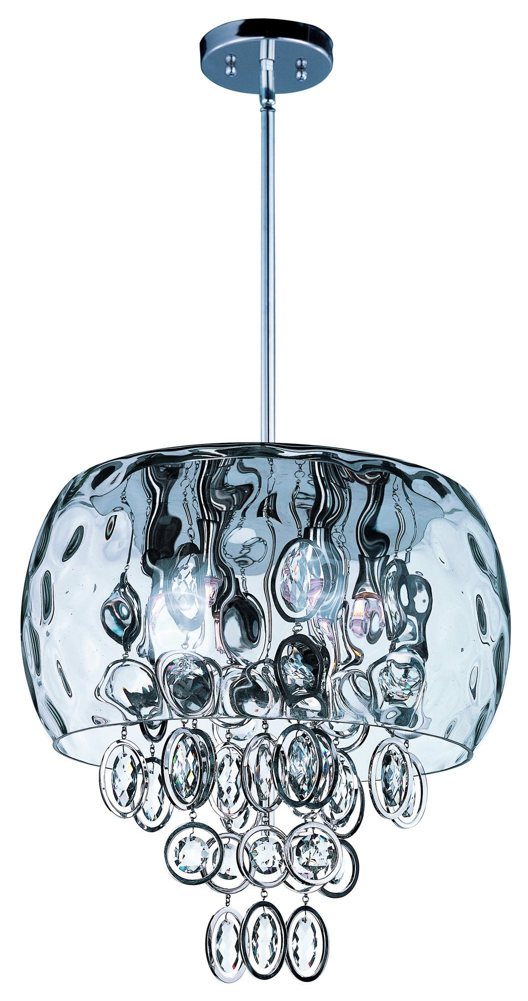 Maxim 21474WGPN Ripple 6-Light Pendant, Polished Nickel Finish, Water Glass Glass, G9 Xenon Xenon Bulb , 100W Max., Dry Safety Rating, Standard Dimmable, Glass Shade Material, 1150 Rated Lumens by Maxim Lighting (Image #1)