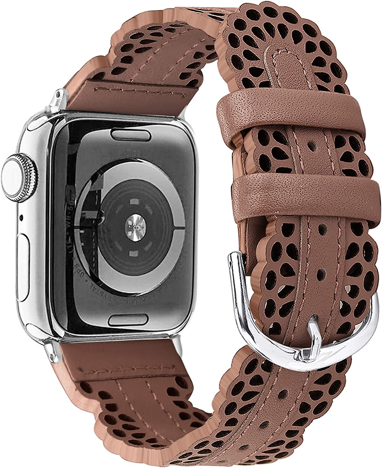 Secbolt Leather Bands Compatible with Apple Watch Band 38mm 40mm iWatch SE Series 6 5 4 3 2 1, Breathable Chic Lace Leather Strap for Women, Brown
