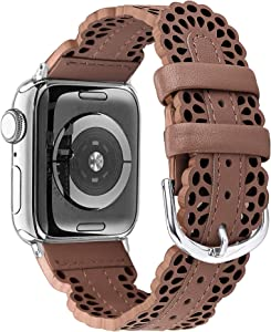 Secbolt Leather Bands Compatible with Apple Watch Band 42mm 44mm iWatch SE Series 6 5 4 3 2 1, Breathable Chic Lace Leather Strap for Women, Brown
