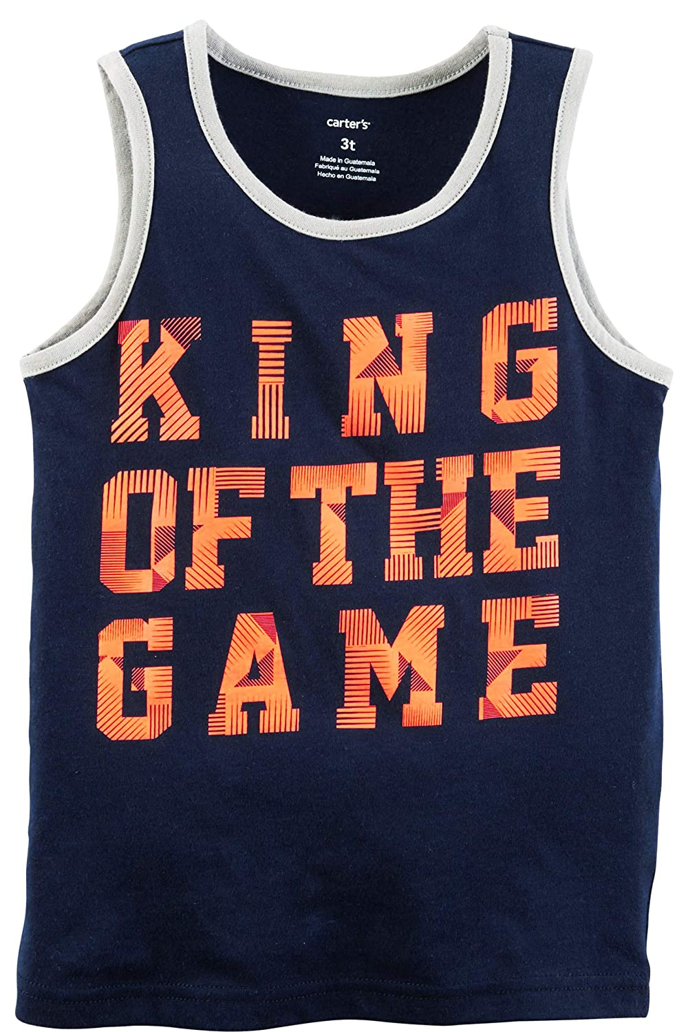 Carters Boys Navy and Orange King of The Game Tank Top 5t