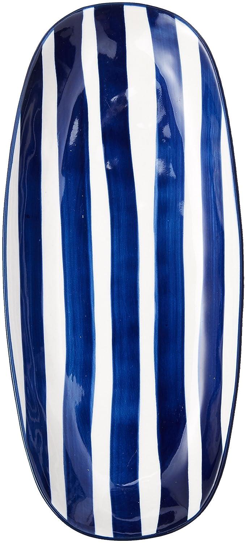 Abbott Collection 27-Riviera//Oval Navy Stripe Plate JOYCHI
