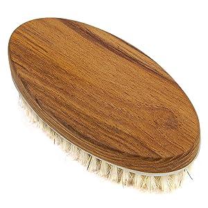 Teak Wood Bath Body Brush for Wet and Dry Brushing, Shower Body Brush, Oval