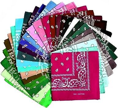 Juego de 3, 6 o 12 unidades de bandanas en varios colores, 100 ...