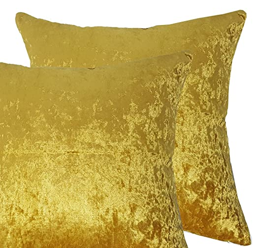Par de fundas de cojín de terciopelo, grande, color liso, poliéster, dorado, 18