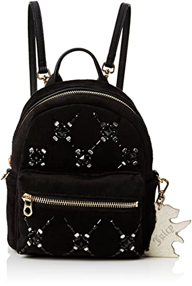 Juicy Couture Womens Embellished Gem Mini Backpack Pitch Black ... 4a4d355217