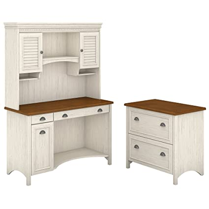 Bush Furniture Stanford Computer Desk with Hutch and 2 Drawer Lateral File  Cabinet in Antique White - Amazon.com: Bush Furniture Stanford Computer Desk With Hutch And 2