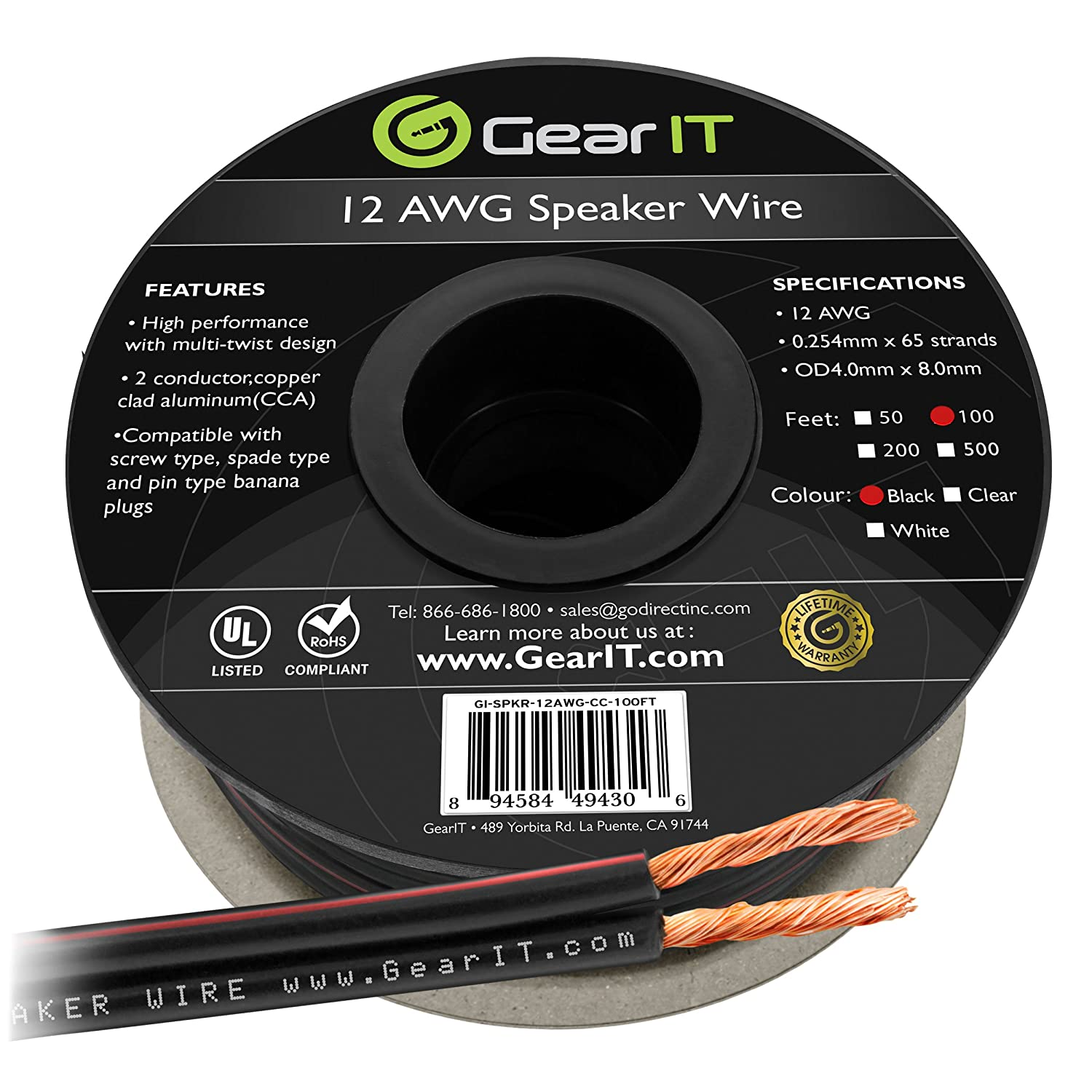 White 12AWG Speaker Wire 200 Feet // 60.96 Meters GearIT Pro Series 12 Gauge Speaker Wire Cable Great Use for Home Theater Speakers and Car Speakers
