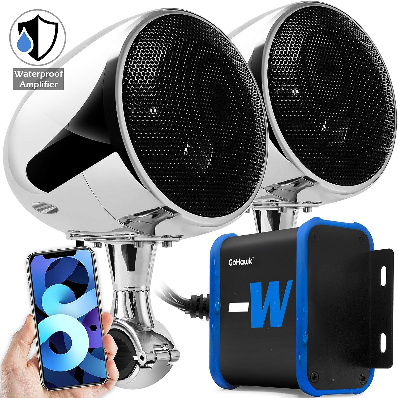 GoHawk TN4-W Full Range Bluetooth Motorcycle Stereo Speakers