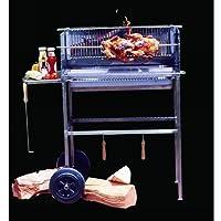 Spanferkelgrill Edelstahl XXL silber Turning Roaster Garten ✔ eckig ✔ stehend grillen ✔ Grillen mit Holzkohle