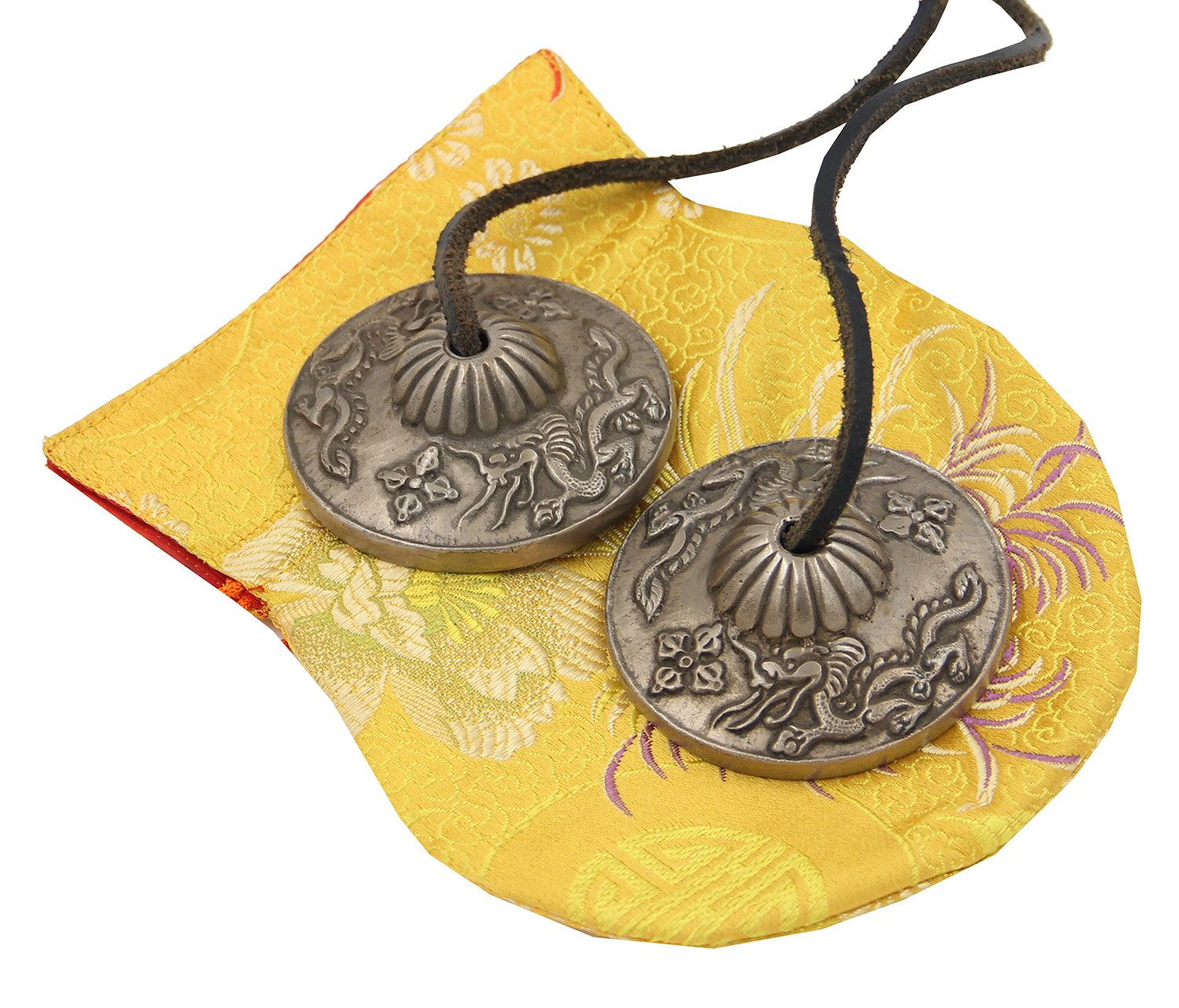 DharmaObjects Tibetan Premium Quality ''Dragon'' Tingsha Cymbals 2.25'' With Pouch