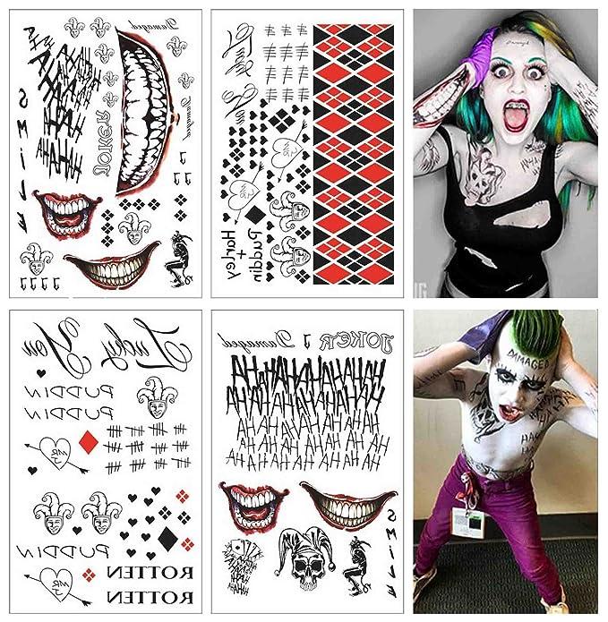 COKOHAPPY SS Temporales Tatuaje - Harley Quinn & The Completo set de 4 hoja - - 80+ Tats Disfraz/Cosplay