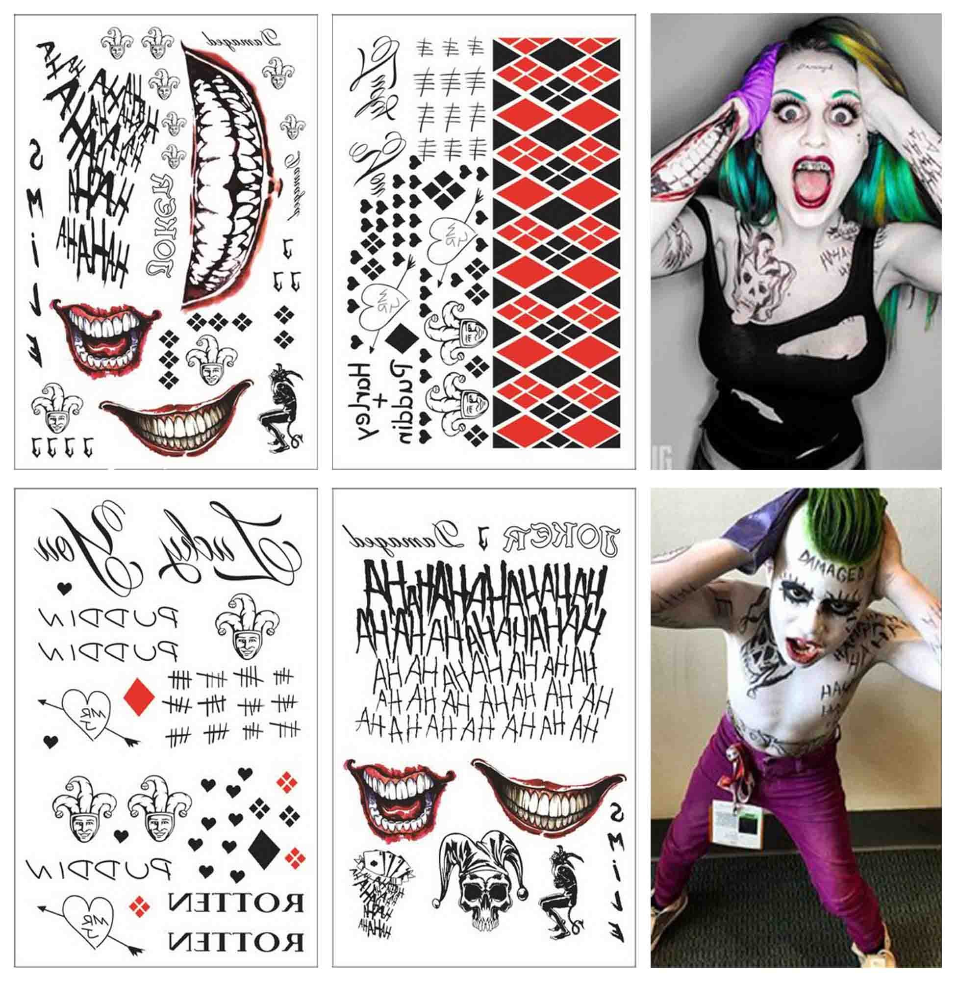 COKOHAPPY 4 Large Sheets SS Temporary Tattoo HQ & The Joker Sticker 80+ Tats Costume/Cosplay Party Accessories