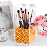 PuTwo Makeup Brush Holder Dustproof Storage Box Premium Quality 5mm Thick Acrylic Makeup Organizer, Gold Pearl, Small, 37.39 Ounce