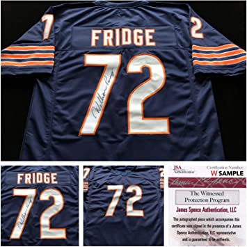 Autographed//Signed William Perry The Refrigerator Chicago Blue Football Jersey JSA COA