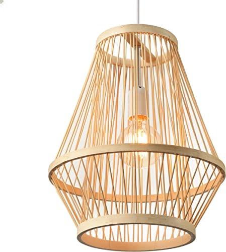 BAYCHEER Retro Single Light Pendant Light Corridor Bamboo Lantern Ceiling Light Pendants Fixture Hanging Lighting with Shape Rattan for Teahouse Dining Room in Beige