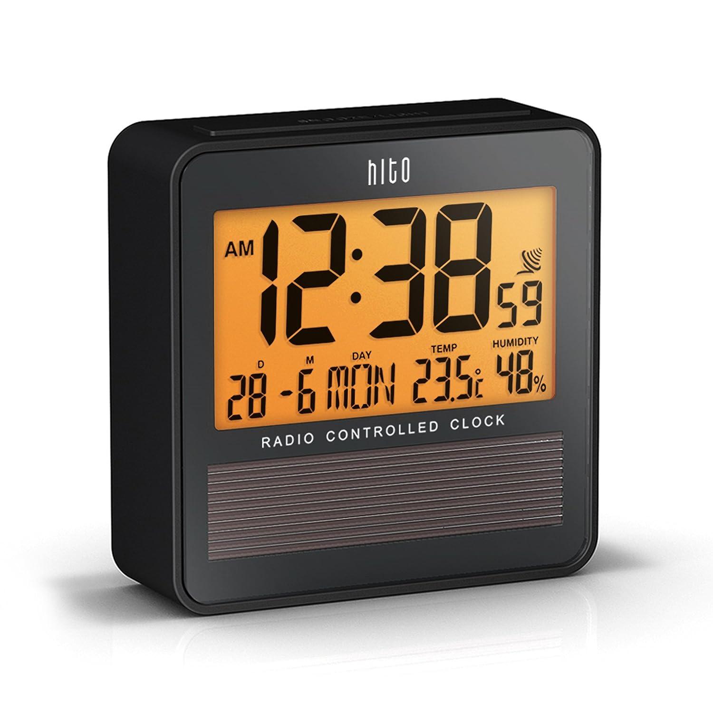 HITO - Sveglia da viaggio Atomic radiocontrollata con data, temperatura, umidità, settimana, stato della sceglia, retroilluminazione, funzionamento a batteria con pannello solare