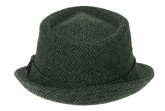1089d4a5599 Sean John Mens Tweed Fedora Trilby Hat Black M L  Amazon.in ...