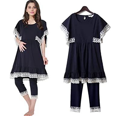 0ebd5df6cd745 Sweet Mommy Maternity and Nursing Cotton Lace Pajama Set Navy, M at ...