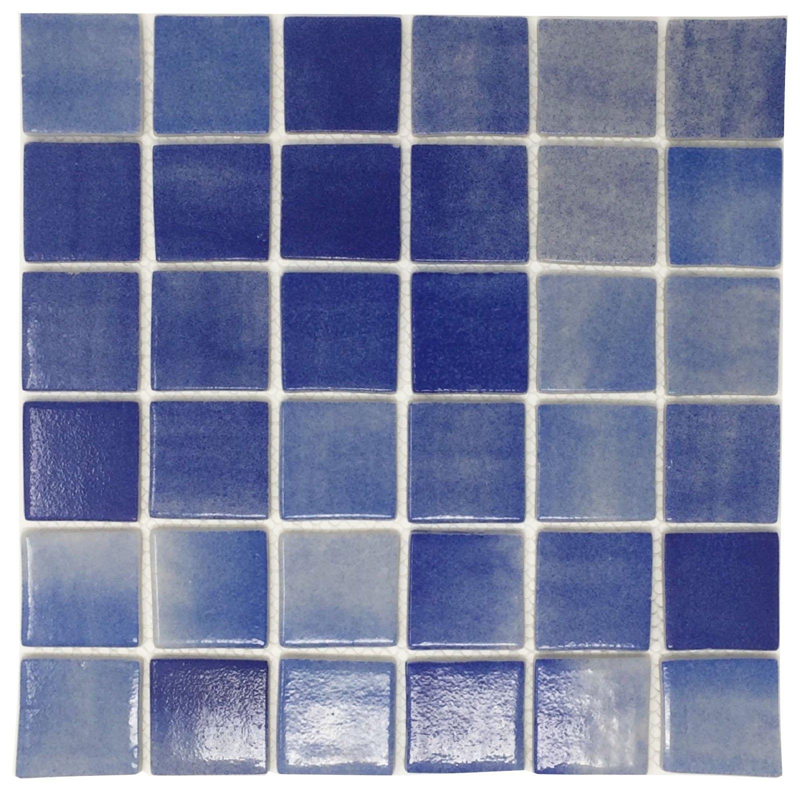 Porcelain Mosaic Tile, FB50506 - Blue Square, Chip SIZ 2''X2'' Square, Sheet Size 12''X12''X1/4'', Shiny (Box of 5 Sheets)