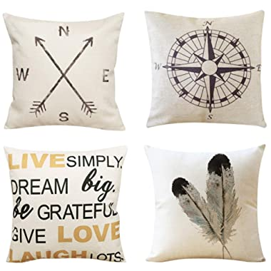Unves Throw Pillow Covers, 18x18 Set of 4 Decorative Pillows Cotton Linen Sofa Couch Pillow Covers Bedroom Living Room Toss Pillows Throw Pillow Sets