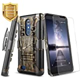 ZTE Blade X Max Case, ZTE ZMax Pro Case, ZTE Carry Z981 Case with [Tempered Glass Screen Protector], NageBee [Heavy Duty] Armor Shock Proof [Belt Clip] Holster [Kickstand] Combo Rugged Case -Camo