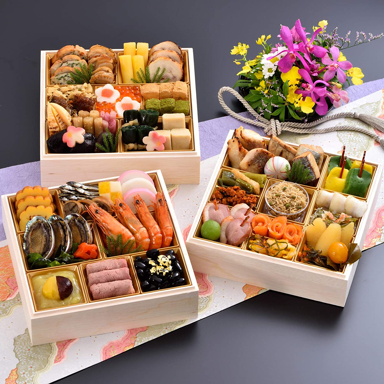 京都 しょうざん おせち料理 2021 千ヶ峰 三段重 50品 盛り付け済み 冷蔵おせち 3人前~4人前 お届け日:12月31日