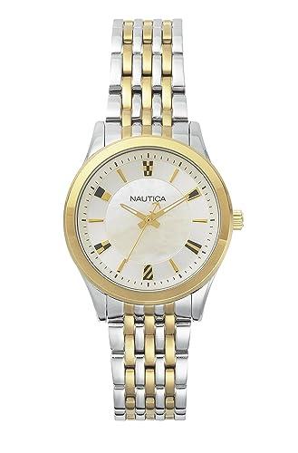 Nautica Reloj Análogo clásico para Mujer de Cuarzo con Correa en Acero Inoxidable NAPVNC004: Amazon.es: Relojes