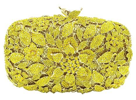 Noche Bolsas Bolso Mujer Fiesta Boda Carteras Brillo Mano Diamantes Cadena Embrague Flores Amarillo