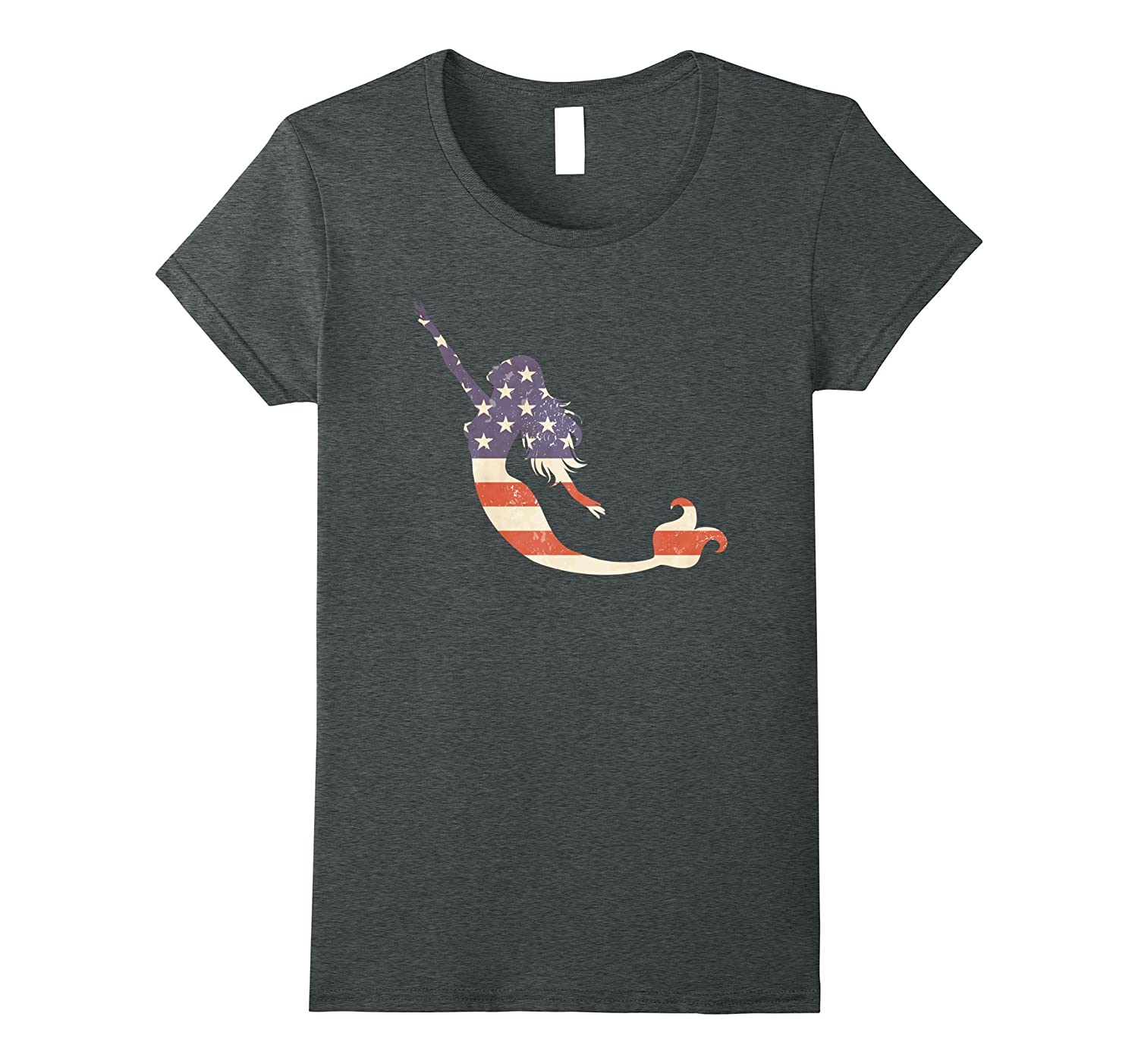 Flag Mermaid Patriotic American USA Sea Ocean Grunge