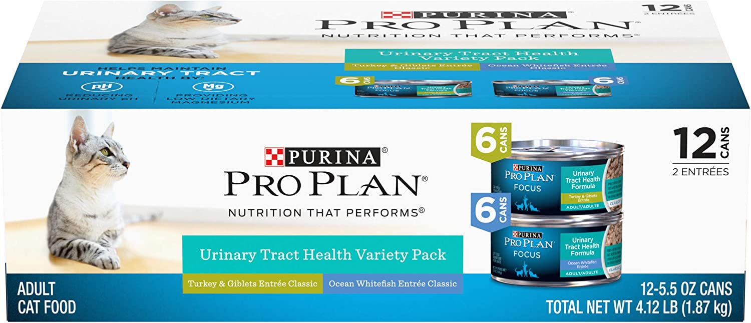 Purina Pro Plan Urinary Tract Health Wet Cat Food Variety Pack, Focus Turkey & Giblets, Ocean Whitefish - (12) 5.5 oz. Cans