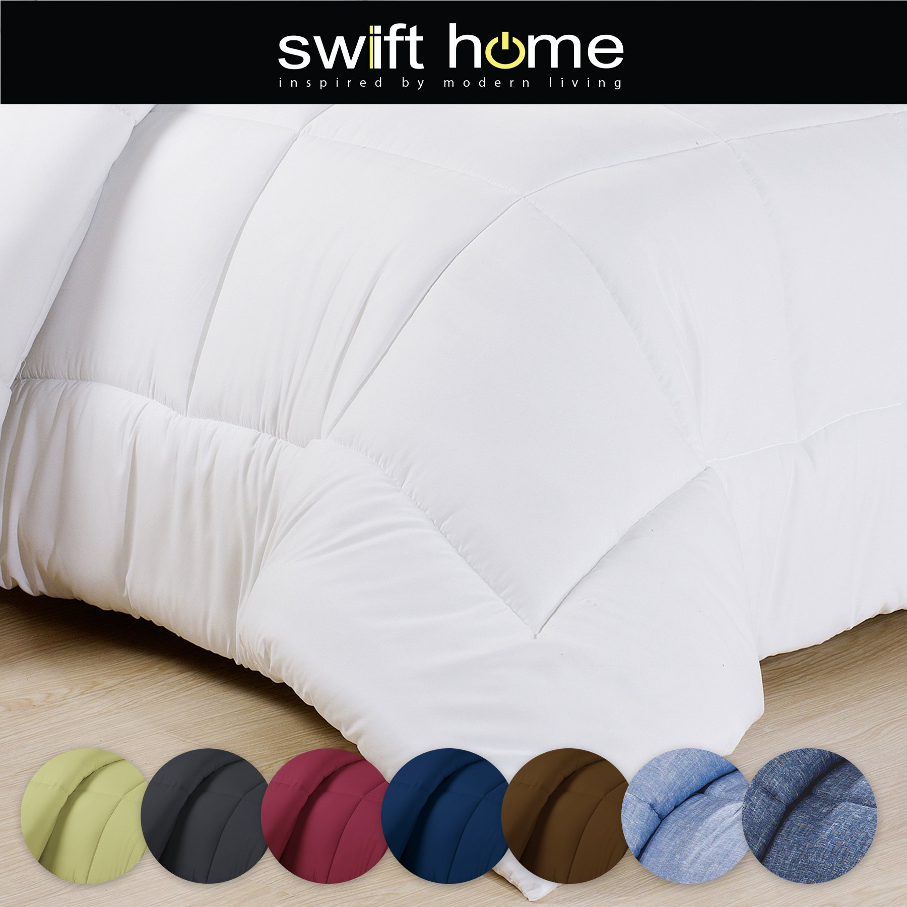 Swift Home All-Season Extra Soft Luxurious Classic Light-Warmth Goose Down-Alternative Comforter, Queen 90'' x 90'', Navy by Swift Home (Image #2)