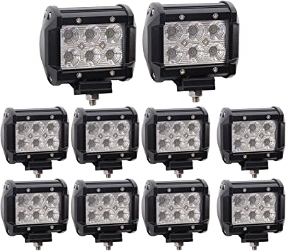 10X 18W CREE LED WORK LIGHT BAR SPOT DRIVING LAMP OFFROAD 4WD SUV JEEP BOAT UTV