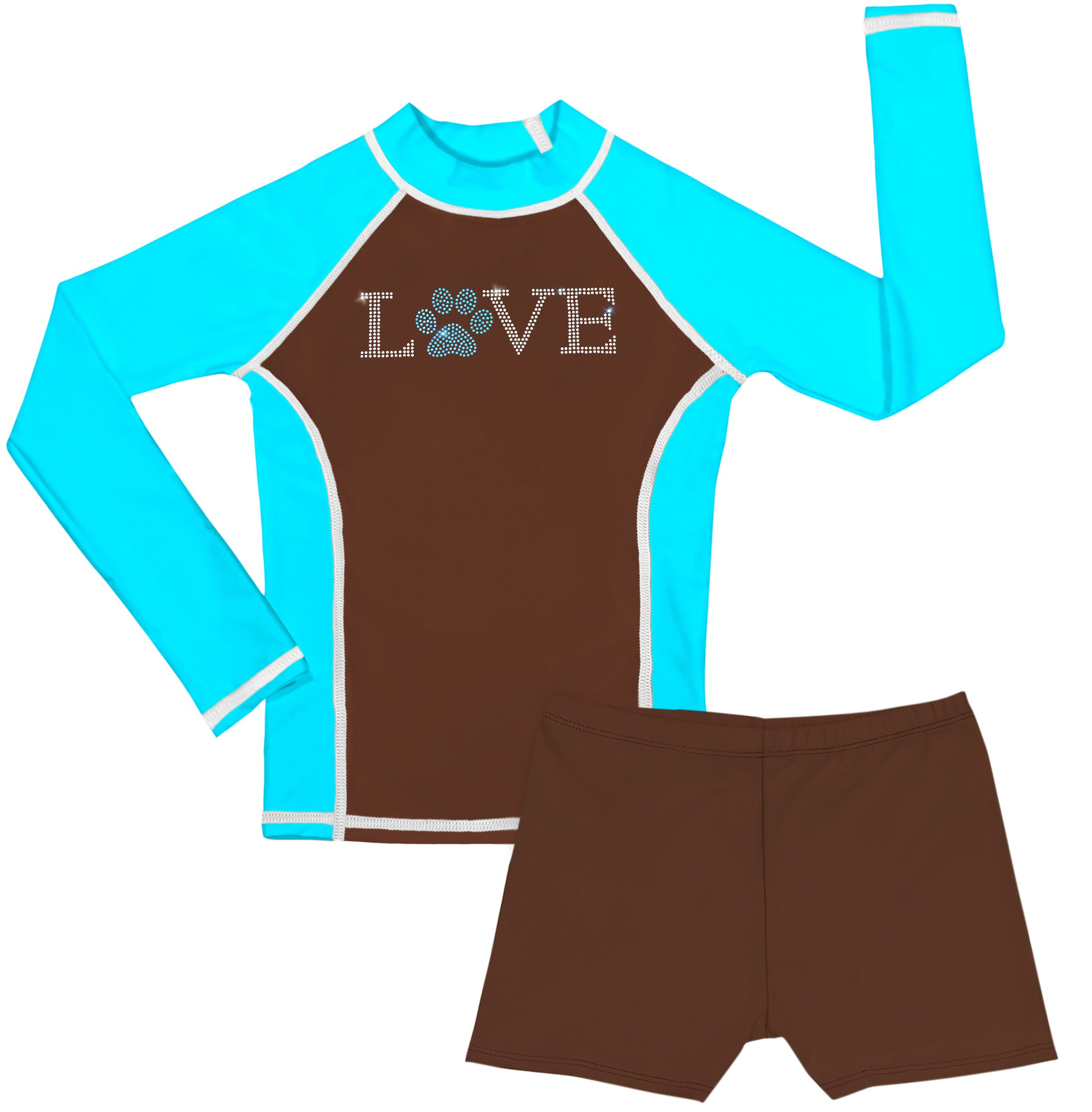 grUVywear UV Sun Protective UPF 50+ Girls Long Sleeve Rash Guard and Shorts Set (M 7-8, Love Paw)