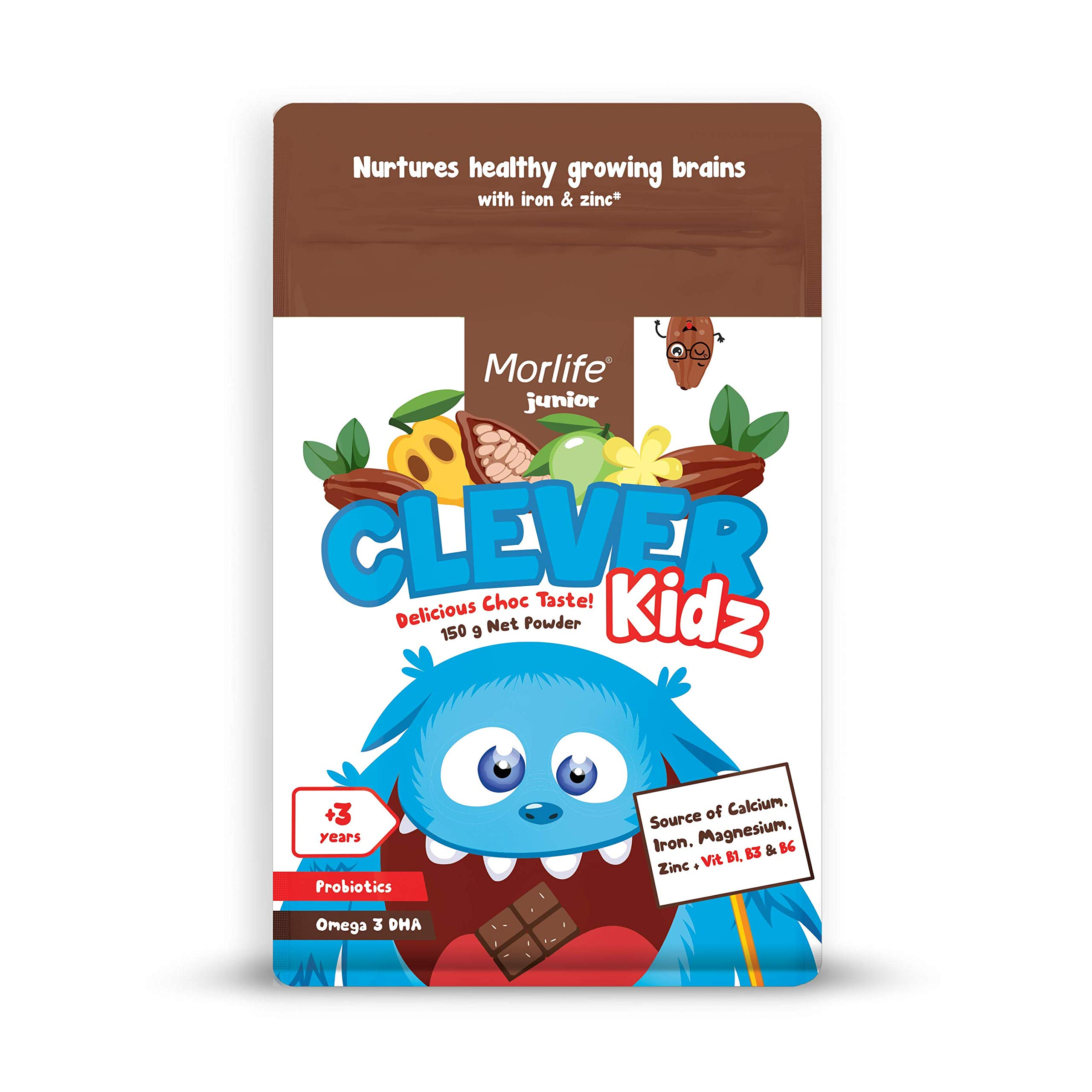 Clever Kidz Chocolate Drink 150g | Kids Vitamins minerals and DHA, Toddler Vitamins, Probiotics for kids with iron & zinc, 1.8 Billion Probiotics Tested & Approved for healthy growing brains 21 serves